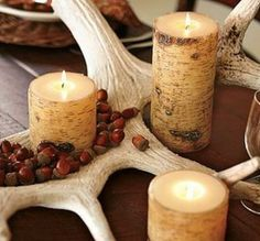 fall decorating with acorns, fall craft ideas for table decoration