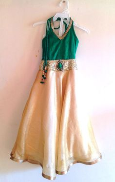 Kids gown in green and gold by Bubblinga on Etsy, $80.00