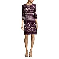 Danny & Nicole® 3/4-Sleeve Lace Fit-and-Flare Dress - Danny & Nicole® 3/4-Sleeve Lace Fit-and-Flare Dress