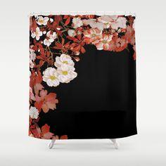 Flower Border On Black Shower Curtain