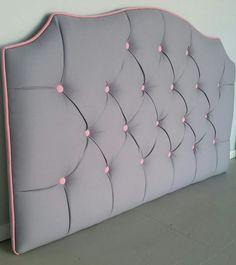 Grey and pink tufted upholstered headboard custom wall mounted Pink Headboard, Bed Headboard Design, Bed Frame Design, Headboards For Beds, Bed Design, Blue Gray Bedroom, White Bedroom, Black Pink, Round Sofa