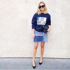 These Cool Instagram #OOTDs Will Help You Plan Your Next Outfit #refinery29  http://www.refinery29.com/how-to-wear-dark-colors#slide7  Leave it to the French to put a sweatshirt over an M Missoni dress, and make it seem like the obvious styling choice. Adenorah's navy ensemble makes the case for ditching black for blue this fall.