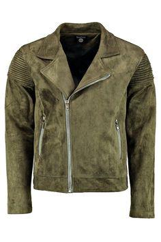 Suedette Biker Detail Jacket, Khaki