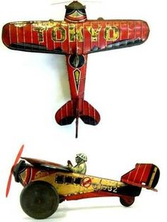 PREWAR Japan KAMIKAZE Bomber TOKYO Propeller Airplane Ship Tin Toy