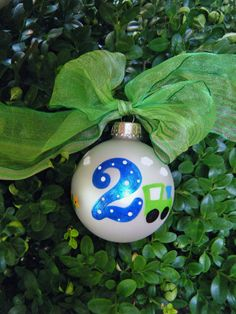 Train Ornament - Personalized Birthday Ornament - Christmas Ornament - Hand Painted Glass Ball by BrushStrokeOrnaments on Etsy https://www.etsy.com/listing/97869817/train-ornament-personalized-birthday