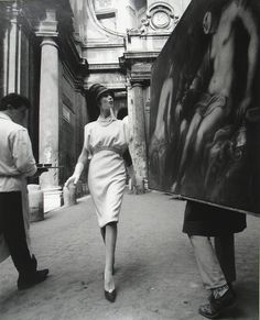 William Klein | Simone + Painting + Coffee, Rome (Vogue)