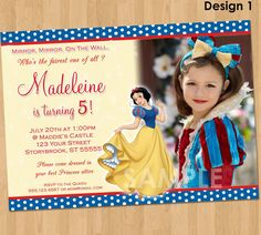 Snow White Invitation  Snow White Party  by KidsPartyPrintables, $9.99