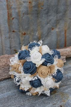 Navy Burlap and Lace Bride's Bouquets Custom Wedding Arrangements by GypsyFarmGirl