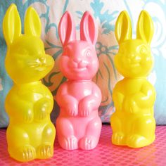 The Brightest Little Bunnies..Cute Vintage Easter Candy Containers