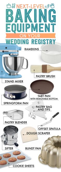 Essential Wedding Registry List For Your Kitchen Level Up Baking Equipment.The Essential Wedding Registry Checklist For Your KitchenLevel Up Baking Equipment.The Essential Wedding Registry Checklist For Your Kitchen Baking Supplies, Baking Tools, Baking Ideas, Kitchen Hacks, Kitchen Gadgets, Kitchen Tools, Kitchen Ware, Kitchen Things, Kitchen Supplies