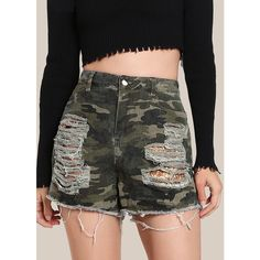 SheIn(sheinside) Sequin Pocket Camo Shorts CAMO GOLD ($24) ❤ liked on Polyvore featuring shorts, army green, zipper pocket shorts, high-rise shorts, olive green shorts, ripped shorts and gold sequin shorts