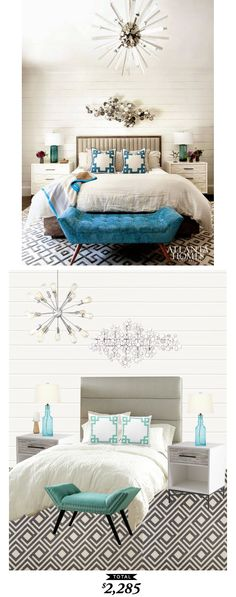 A happy, chic bedroom featured in @atlantahomesmag recreated for $2285 by @lindseyboyer for Copy Cat Chic