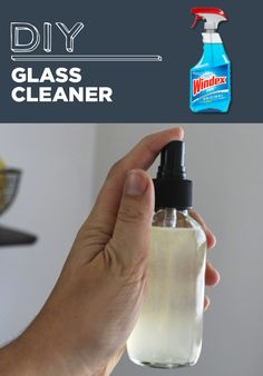 // DIY glass cleaner - In a spray bottle, mix together 1 cup rubbing (isopropyl) alcohol, 1 cup water, and 1 tablespoon white vinegar.