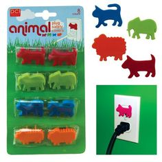 Safety plugs in cute animal designs. Protect little fingers from electrical plugs.