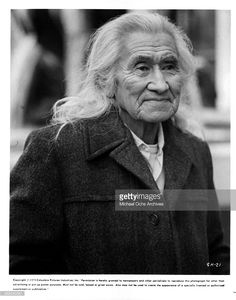 Actor Chief Dan George on set of the movie 'Shadow of the Hawk', circa 1976.