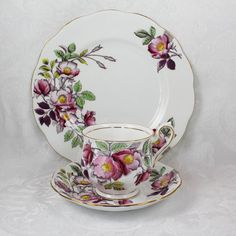 Vintage Royal Albert Flower of the Month Dog Rose Bone China Trio~from the 1950s