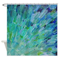Sea Scales - Ombre Teal Ocean Abstract Shower Curt. Cafepress.com