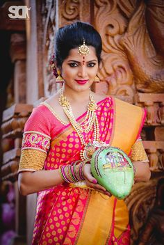 South Indian bride. Kanchipuram silk sari. Temple jewelry. Braid with fresh flowers. Tamil bride. Telugu bride. Kannada bride. Hindu bride. Malayalee bride
