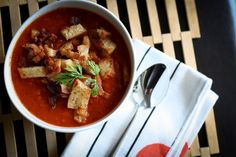 Gojee - Tomato Carrot Soup with Bacon Croutons  by Bitchin Camero
