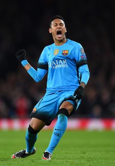 Neymar of Barcelona reacts during the UEFA Champions League round of 16, first leg match between Arsenal FC and FC Barcelona at the Emirates Stadium on February 23, 2016 in London, United Kingdom.