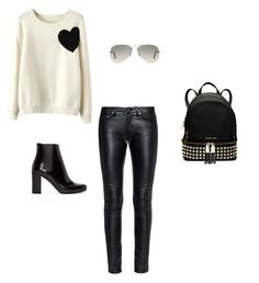 """walk the city"" by kalliopi73 on Polyvore featuring WithChic, Yves Saint Laurent, Ray-Ban and MICHAEL Michael Kors"