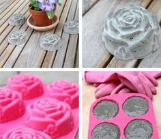 Wow, I never even thought about doing this! What a great idea! This would look great outside anywhere! What you need: -Silicon Rose Mold -Concrete -Paint