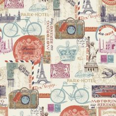 Postcards Wallpaper in Red by Muriva