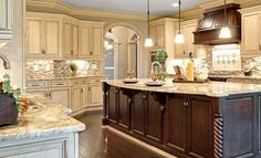 Image of: Cream Colored Distressed Kitchen Cabinets