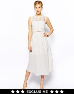 Buy Oasis Column Lace Midi Dress at ASOS. With free delivery and return options (Ts&Cs apply), online shopping has never been so easy. Get the latest trends with ASOS now. W Dresses, Ivory Dresses, Fashion Dresses, Flower Girl Dresses, Bridesmaid Dresses, Bridesmaids, Lace Midi Dress, Dress Up, White Dress