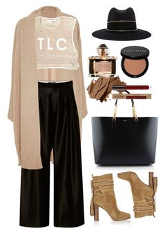 """Ellery Black Wide-Leg Silk Culottes"" by thestyleartisan ❤ liked on Polyvore featuring Rosetta Getty, E L L E R Y, Yves Saint Laurent, Janessa Leone, Michael Kors, Bobbi Brown Cosmetics and Loewe"