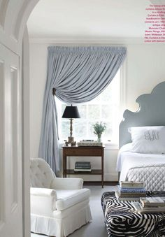 Bedroom Bliss. Blue and white with a zebra ottoman. 13 Cozy Master Bedroom Ideas to Keep You Warm this Winter
