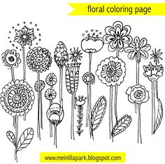 FREE printable floral coloring page | flower doodles