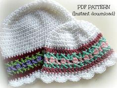 Crochet pattern crochet girl hat pattern baby by Thehobbyhopper, $4.50