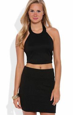 Deb Shops Textured Bodycon Mini Skirt $16.00