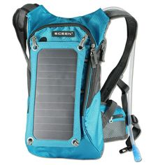 Eceen Hydration Backpack + Solar Charger | 7W/6V Flexible Solar Panel | | 10,000mAh Emergency Power Bank | | Durable and Waterproof Backpack  | | Built-in Hydration Pack (1.8L Bladder) | | Equipped with Voltage Stability Controller | | 2 USB Ports for Simultaneous Charging |