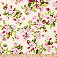 Kanvas Apple Blossom Festival Apple Blossom Cream from @fabricdotcom  Designed by Maria Kalinowski for Kanvas in association with Benartex, this cotton print fabric is perfect for quilting, apparel and home decor accents. Colors include shades of pink, green, tan and cream.