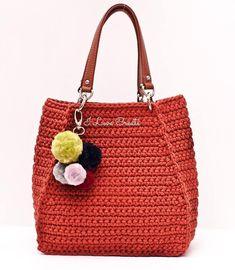 Shopper bag with eco-leather handles Bucket bag Big women's bag Big size bag Cashual bag Everyday bag Cotton bag women Crochet bag Crochet Backpack, Crochet Clutch, Crochet Handbags, Crochet Purses, Crochet Bags, Love Crochet, Hand Crochet, Knit Crochet, Purse Patterns