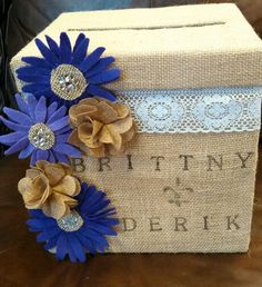 with yellow sunflowers and no lace???    Burlap wedding card box.