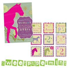 Horse Equestrian Vintage Birthday Party Pack