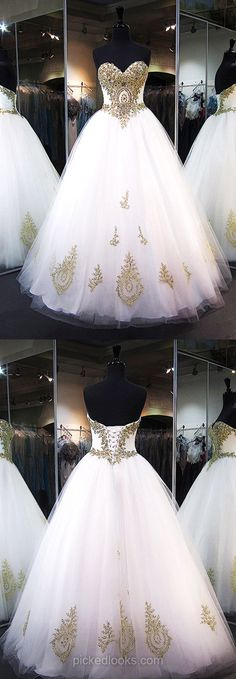 Long Ball Dresses Lace, Ball Gown Prom Dresses, White Evening Dresses 2018, Sweetheart Formal Dresses Cheap