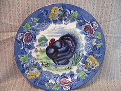 1800s English Staffordshire blue turkey platter!! 10 in wide. Blue is such a strong established color in this design felt it deserved to be on this board.  Fab blue turkey design!!