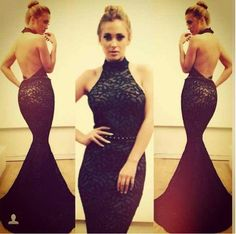 Find More Evening Dresses Information about Wholesale Mermaid High Neck Backless Open Back Trumpet Lace Black Evening Dresses 2014 Customized Special Occasion Dress,High Quality dress slacks,China dress white dress Suppliers, Cheap dress up games prom dresses from Dreamyfashion on Aliexpress.com