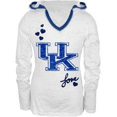 Kentucky - Girls Youth Burnout Hooded Long Sleeve T-Shirt
