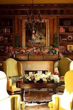 I love this holiday decor, reminds me of an English Country Manor setting. Christmas Mantels, Noel Christmas, Christmas Decorations, Christmas Vignette, Christmas Ornaments, Table Decorations, English Country Manor, English House, English Style
