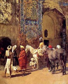 Blue Tiled Mosque At Delhi India oil painting reproduction by Edwin Lord Weeks - NiceArtGallery.com