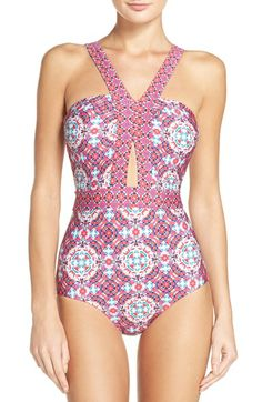 Free shipping and returns on Laundry by Shelli Segal Mayan Escape Cutout One-Piece Swimsuit at Nordstrom.com. A gorgeous, kaleidoscopic floral print washes across a flattering maillot detailed with tantalizing cutouts.
