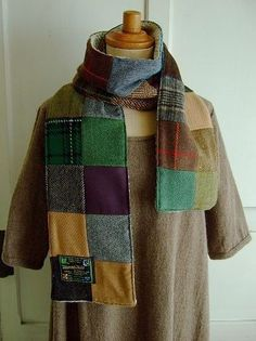 Hanna Hats  patchwork scarf, DIY ideas too just head to your local thrif store for those really old mens Jackets!!
