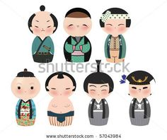 A series of cute japanese kokeshi characters. by Minipop, via ShutterStock