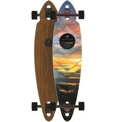 The Arbor Mindstate Walnut Longboard brings something unique to the cruiser and freeride market, which is this rad drop through pintail shape. It's compact but still has plenty of foot space and is ju