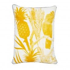 linen cushion hand screen printed with queensland design in yellow finished with black and white piping // Dimensions: x (feather insert included) Bonnie And Neil, Yellow Cushions, Botanical Art, Pattern Making, All The Colors, Screen Printing, Tapestry, Throw Pillows, Handmade